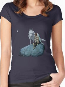 Princess Mononoke at night Women's Fitted Scoop T-Shirt
