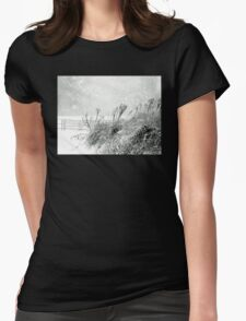 Snow Light in Black and White Womens Fitted T-Shirt