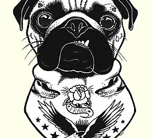 Tattooed Dog - Pug by PaperTigressArt