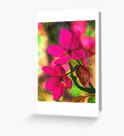 Flowers pink rosa orange Greeting Card
