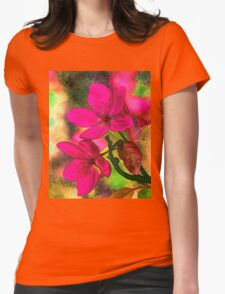 Flowers pink rosa orange Womens Fitted T-Shirt