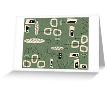 Mid-Century Modern Green Abstract Greeting Card