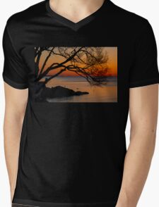 Colorful Quiet Sunrise on the Lake  Mens V-Neck T-Shirt