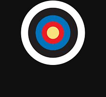 Bulls Eye, Target, Right on Target, Roundel, Archery, on BLACK Unisex T-Shirt