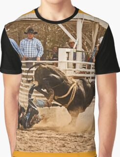 Rodeo Cowboy is Thrown from His Bull Graphic T-Shirt