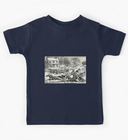 A brush for the lead - Currier & Ives1867 Kids Tee