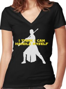 Rey - I Think I Can Handle Myself - Large Design Women's Fitted V-Neck T-Shirt