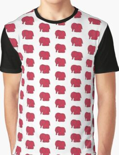 Funny cross-stitch red elephant Graphic T-Shirt