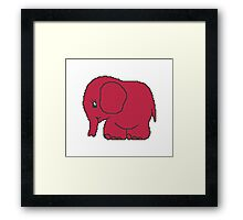 Funny cross-stitch red elephant Framed Print
