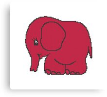 Funny cross-stitch red elephant Canvas Print