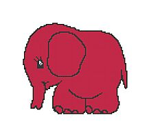Funny cross-stitch red elephant Photographic Print
