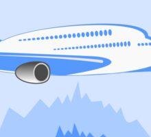 Blue Jet Plane Over Forest Sticker