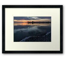 Icy Sunrise - Winter Waterfront Serenity Framed Print