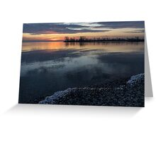 Icy Sunrise - Winter Waterfront Serenity Greeting Card