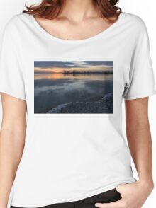 Icy Sunrise - Winter Waterfront Serenity Women's Relaxed Fit T-Shirt