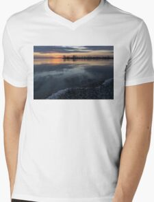 Icy Sunrise - Winter Waterfront Serenity Mens V-Neck T-Shirt