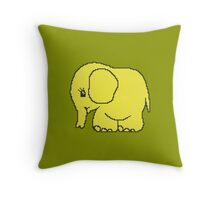 Funny cross-stitch yellow elephant Throw Pillow