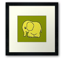 Funny cross-stitch yellow elephant Framed Print