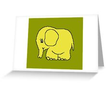 Funny cross-stitch yellow elephant Greeting Card