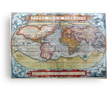 Colorful Antique Vintage World Map Ortelius Canvas Print