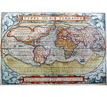 Colorful Antique Vintage World Map Ortelius Photographic Print