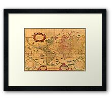 Colorful Antique Vintage Map of the World Framed Print