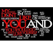 Lyric Cloud - Love Yourself v2 Photographic Print