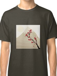 Cute Mount Fuji and Red Cherry Blossoms Classic T-Shirt
