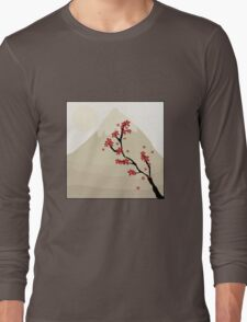 Cute Mount Fuji and Red Cherry Blossoms Long Sleeve T-Shirt