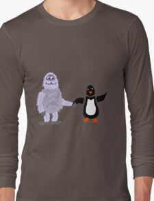Cool Funny Abominable Snowman and Penguin Love Long Sleeve T-Shirt