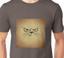 Funny Black and Tan Angry Cat Face Unisex T-Shirt