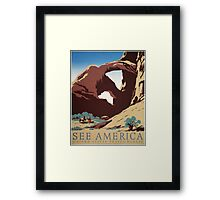 WPA Vintage Travel Poster See America Arches Framed Print