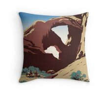 WPA Vintage Travel Poster See America Arches Throw Pillow