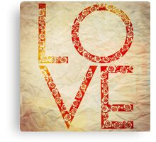 Cute Vintage Red Floral Love Canvas Print