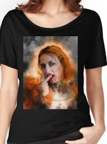 Vampire look with blood dripping from mouth Women's Relaxed Fit T-Shirt
