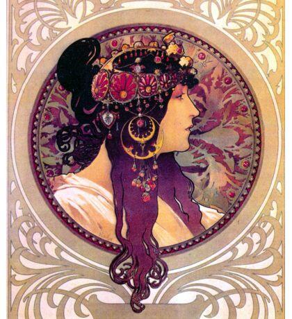 Colorful Art Nouveau Alfons Mucha Poster Sticker
