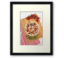 Pizza with bacon, olives and tomato Framed Print