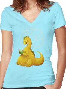 Even Dinosaurs Love to Read Women's Fitted V-Neck T-Shirt