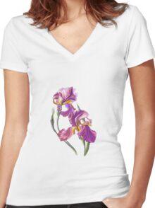 Irises-1 Women's Fitted V-Neck T-Shirt