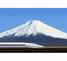 Mount Fuji and the Bullet Train JR 500, Japan Photographic Print