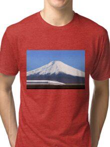 Mount Fuji and the Bullet Train JR 500, Japan Tri-blend T-Shirt