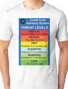 Credit Card Bill : Threat Level Unisex T-Shirt