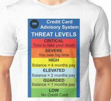 Credit Card Bill : Threat Level Unisex T-Shirt