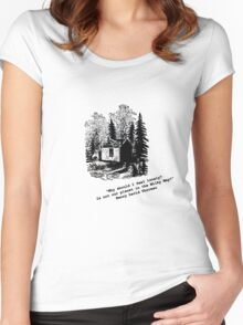 """""""Never Lonely"""" - Thoreau at Walden Women's Fitted Scoop T-Shirt"""