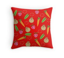 Retro Fruit Vegetables Illustration Throw Pillow