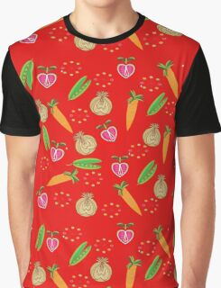 Retro Fruit Vegetables Illustration Graphic T-Shirt