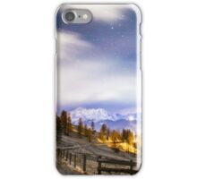 wind and cold on a road in a winter evening in the italian dolomiti iPhone Case/Skin