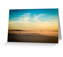 foggy sunset in the bay of Trieste Greeting Card