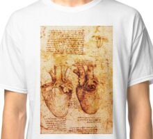 Heart And Its Blood Vessels. Leonardo Da Vinci,Anatomic Study,Brown Classic T-Shirt