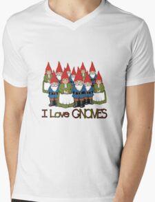 I Love Gnomes: Cute Hand Drawn Group of Gnomes Mens V-Neck T-Shirt